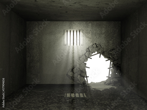 Old Grunge Prison Interior with Broken Concrete Wall