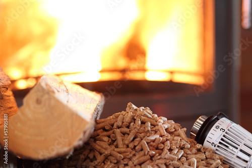 In de dag Vuur / Vlam Pellets vor einem Ofen