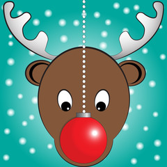 Rudolp reindeer and christmas ball. Vector