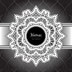 White lace frame, ornamental background