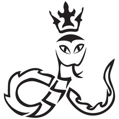 Vector tribal. A snake with a crown