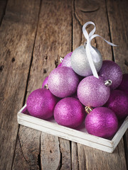 Pyramid from Pink and Silver Color Christmas Balls