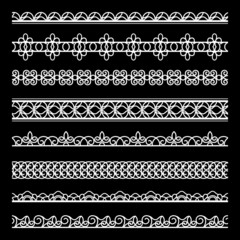 Set of white lace borders on black
