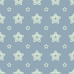 Seamless blue pattern with stars.