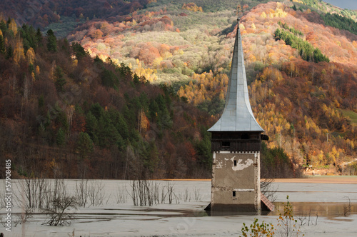 submerged church at geamana