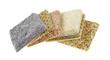 Carpet samples on a white background