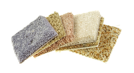 Carpet samples on a white background