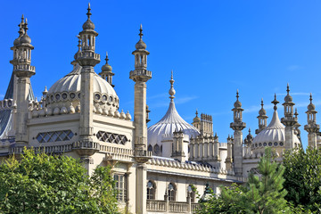 Ornate onion domes and minarets of Brighton Royal Pavillion