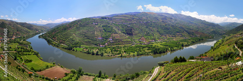 Aluminium Rivier Valley of river Douro with vineyards (Portugal)