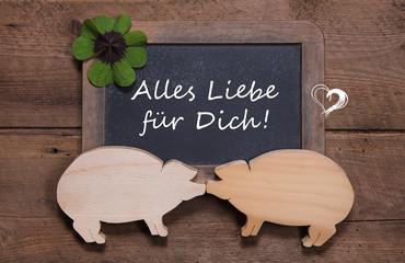 Glückwunschkarte Neujahr mit Schwein und Kleeblatt