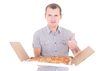 young attractive man with big pizza thumbs up isolated on white