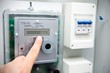 Modern electric meter close up view - 57910805