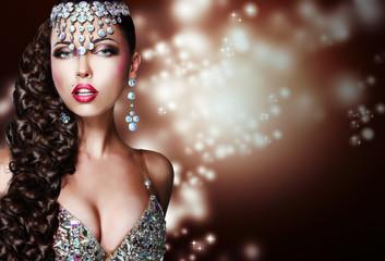 Arabian Style. Mysterious Woman in Shiny Ornamentation