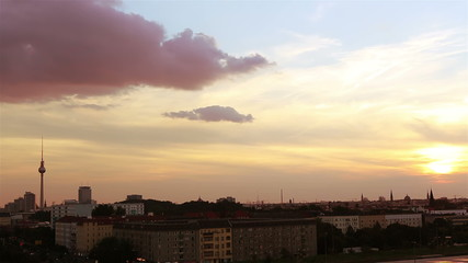 Time lapse of sunset in Berlin sky