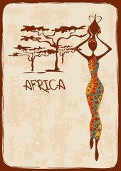 Illustration with beautiful African woman