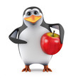 Penguin with a tasty ripe apple