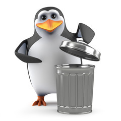 Penguin with a trash can