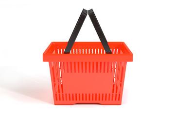 Красная продуктовая корзина на белом фоне