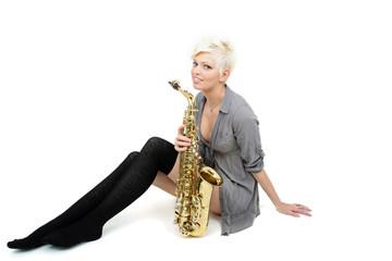 Frau mit Musikinstrument