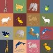 set of animals and birds - vector illustration