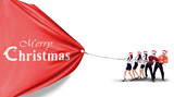 Asian Business team pull christmas banner