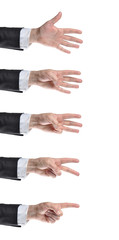 Businessman counting hands. Isolated on white background