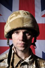 British Soldier With Union Jack Background