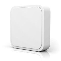 Blank 3d square button over white background with reflection