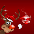 Christmas Rudolph with present Background