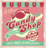Vintage poster template for candy shop