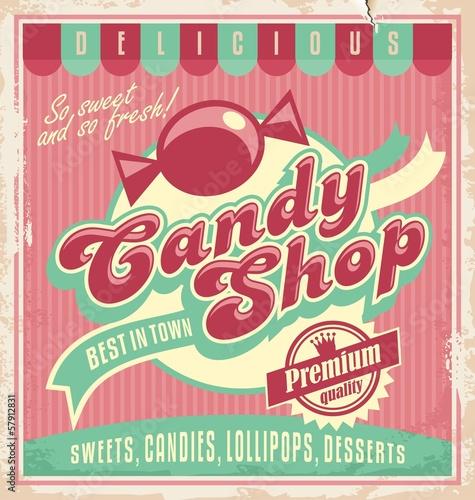 mata magnetyczna Vintage plakat szablon candy shop