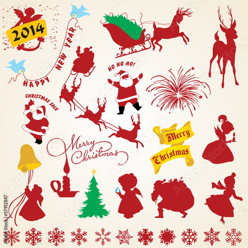 Christmas silhouettes vector, icons pack, christmas elements