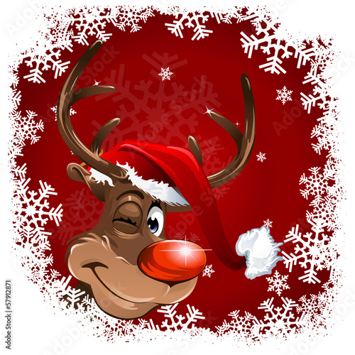 Rudolph Snowflakes red Background