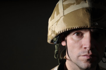 Half Face Portrait Of British Soldier