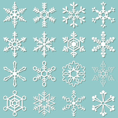 Collection of 16 different snowflakes