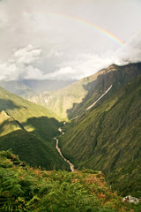 River flowing through the mountains in Cusco, Peru.