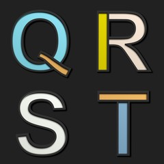 3D pastel uppercase letters, on black background