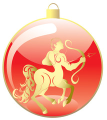 Christmas ball ornaments with zodiac sign. Sagittarius