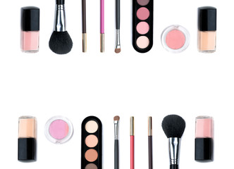 A lot of beautiful cosmetic and brushes for women