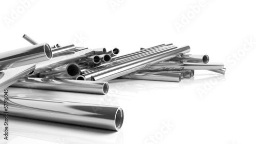 Pile of 3D metallic pilpes, isolated on white