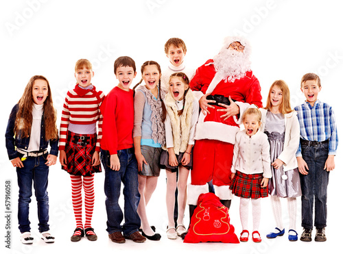 Group of children with Santa Claus.