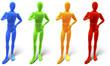 Vier farbige Figuren Daumen hoch, Sampler