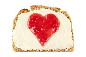 Marmeladenherz auf Brotscheibe