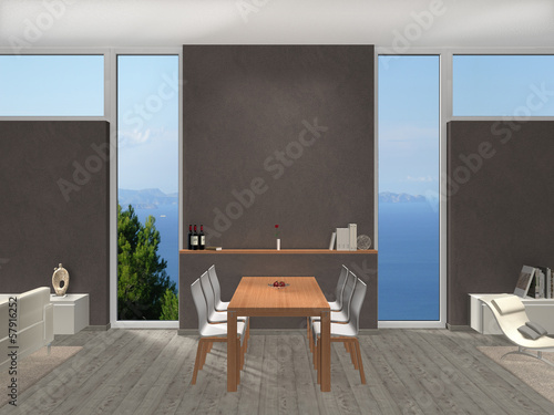modern dining room with copy space for images