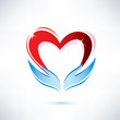hands holding a heart, vector icon, love sharing concept