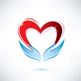 hands holding a heart, vector icon, love sharing concept poster
