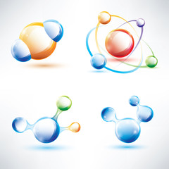 molecule structure, abstract glossy icons set, science and energ
