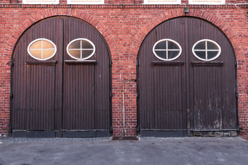 Old stylish door in building of fire brigade. Koszalin in Poland