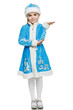 Little girl snow maiden holding blank copy space on palm