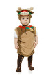 Baby wearing deer costume, over white background